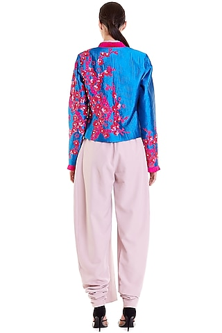 Cobalt Blue & Pink Embroidered Quilted Crop Jacket by Siddartha Tytler