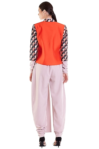 Orange Embroidered Quilted Crop Jacket by Siddartha Tytler