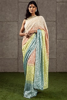 Multi Colored Hand Embroidered Saree Set by Siddartha Tytler