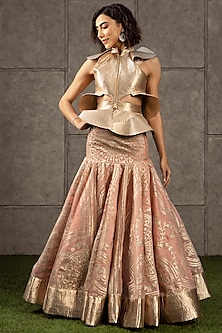 Peach & Gold Appliques Lehenga With Top by Siddartha Tytler