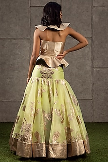 Lime & Gold Appliques Lehenga With Quilted Top by Siddartha Tytler