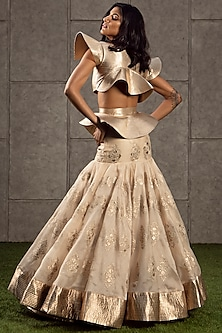 Beige & Gold Lehenga With Quilted Top by Siddartha Tytler
