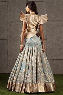 Ice Blue Appliques Lehenga With Top by Siddartha Tytler