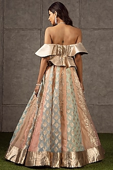 Multi Colored Appliques Lehenga With Top by Siddartha Tytler
