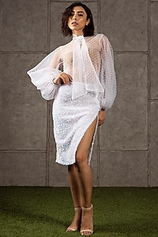 Ivory Dotted Shirt With Bow by Siddartha Tytler