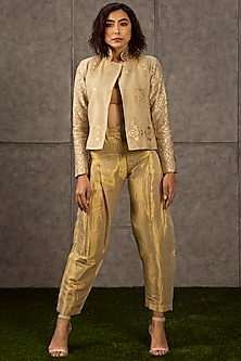 Beige Crystals Embroidered Jacket by Siddartha Tytler