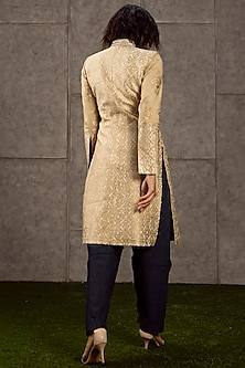 Beige Embroidered Long Jacket by Siddartha Tytler
