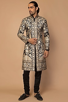 Gold & Silver Hand Embroidered Sherwani Set by Siddartha Tytler Men
