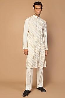 Ivory Striped Kurta Set by Siddartha Tytler Men