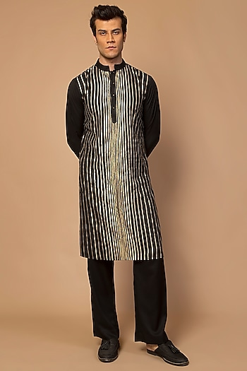 Black Striped Kurta Set by Siddartha Tytler Men