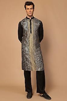 Black Striped Kurta Set by Siddartha Tytler Men