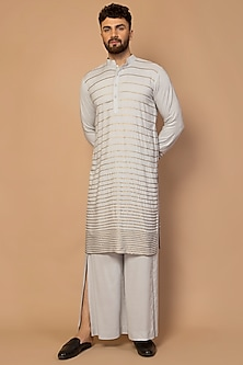 Grey Striped Kurta Set by Siddartha Tytler Men