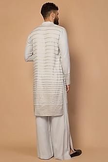 Grey Striped Kurta Set by Siddartha Tytler Men
