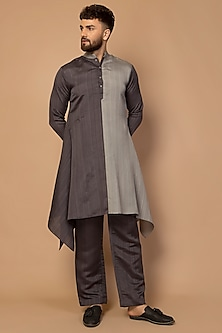 Grey Dual Tone Kurta Set by Siddartha Tytler Men