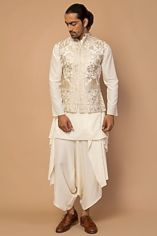 Ivory Hand Embroidered Waistcoat Set by Siddartha Tytler Men