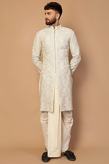 Ivory Hand Embroidered Sherwani Set by Siddartha Tytler Men