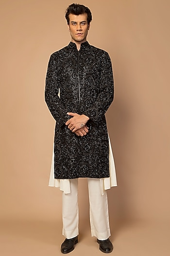 Black Crystal Embroidered Sherwani Set by Siddartha Tytler Men