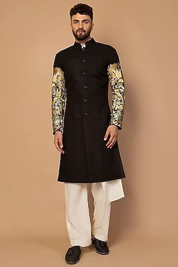 Black Aari Hand Embroidered Sherwani by Siddartha Tytler Men