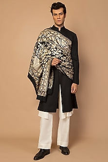 Black Kashmiri Embroidered Men's Dupatta by Siddartha Tytler Men