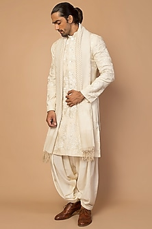 Ivory Embroidered Sherwani With Pants by Siddartha Tytler Men