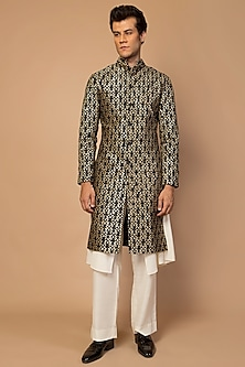 Black Embroidered Sherwani With Inner by Siddartha Tytler Men