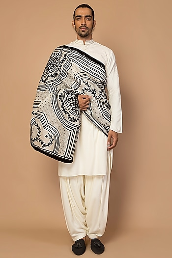 Ivory Laser Cut Striped Kurta Set by Siddartha Tytler Men