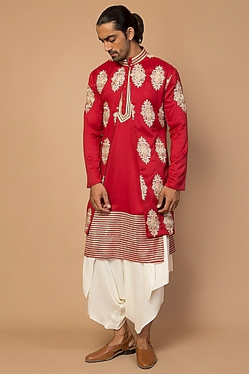 Red Striped Kurta Set With Achkan Jacket by Siddartha Tytler Men