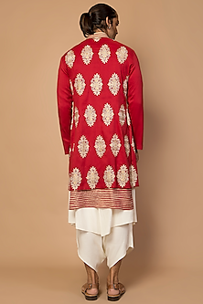 Red Striped Kurta Set With Achkan Jacket by Siddartha Tytler Men