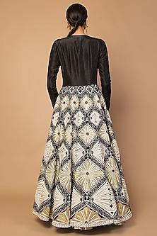 Black Parsi Embroidered Jacket Set by Siddartha Tytler