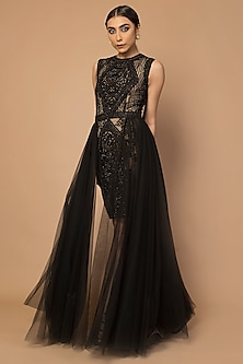 Black Embroidered Cascade Gown by Siddartha Tytler