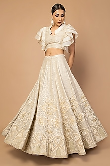 Ivory Embroidered Lehenga Skirt With Blouse by Siddartha Tytler