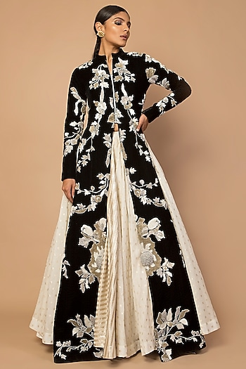 Black Embroidered Jacket With Kalidar Skirt by Siddartha Tytler
