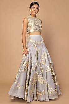 Grey Embroidered Lehenga Skirt With Striped Blouse by Siddartha Tytler