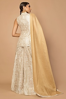 Ivory & Gold Embroidered Gharara Set by Siddartha Tytler