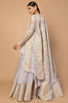 Grey Embroidered High-Low Jacket With Striped Skirt by Siddartha Tytler