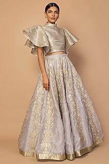 Grey Embroidered Lehenga Skirt With Blouse by Siddartha Tytler