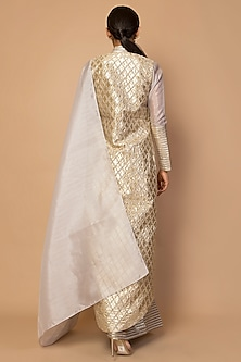 Grey Embroidered Jacket With Striped Saree by Siddartha Tytler