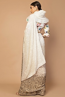 Ivory Embroidered & Printed Saree Set by Siddartha Tytler