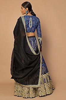 Blue & Black Parsi Embroidered Lehenga Set by Siddartha Tytler