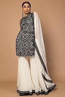 Black & White Embroidered Kurta Set by Siddartha Tytler