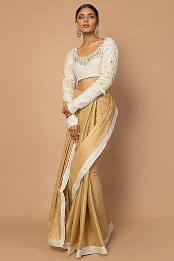 Gold & Ivory Embroidered Saree Set by Siddartha Tytler
