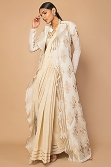 Ivory Embroidered Jacket With Frills by Siddartha Tytler