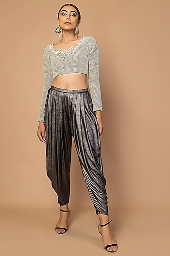 Grey Hand Embroidered Blouse by Siddartha Tytler