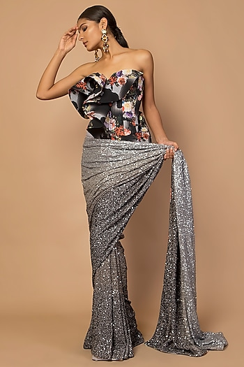 Grey Sequins Embroidered & Printed Saree Set by Siddartha Tytler