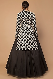 Black Embroidered Achkan Jacket With Skirt by Siddartha Tytler
