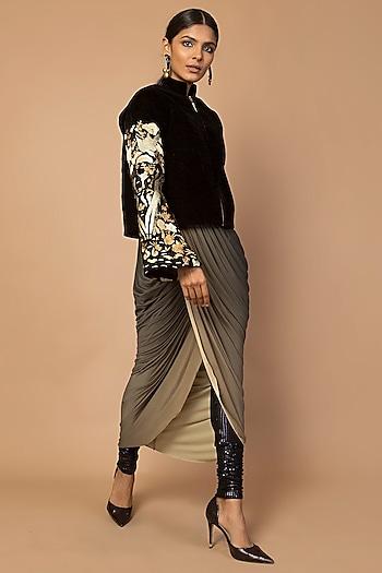 Black Embroidered Kimono Jacket by Siddartha Tytler