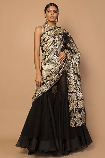 Black & Gold Embroidered & Striped Sharara Set by Siddartha Tytler