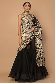 Black & Gold Embroidered & Striped Sharara Set by Siddartha Tytler
