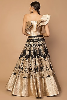 Gold Embroidered Kalidar Lehenga Skirt With Corset Blouse by Siddartha Tytler