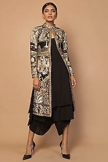 Gold Embroidered Achkan Jacket by Siddartha Tytler